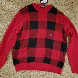 Chaps Plaid Sweater, new